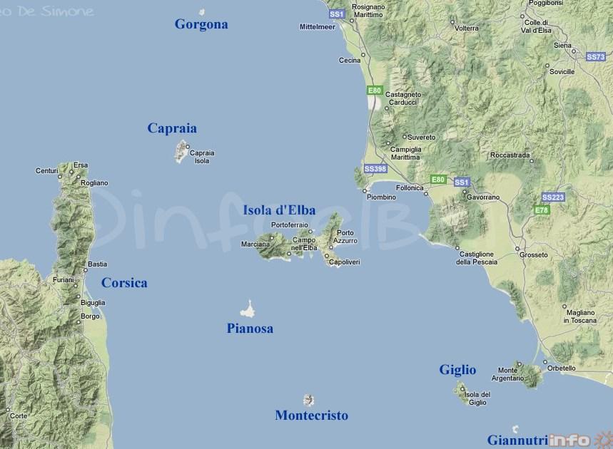 Insel Elba Karte.Karten Und Entfernungen Zwischen Elba Und Den Anderen Inseln Des